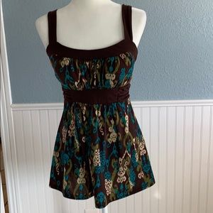 Brown and turquoise tank Size M